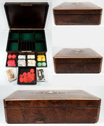 Antique French Game or Cards & Gaming Chips Set, Napoleon III Boulle Box, 13.5""