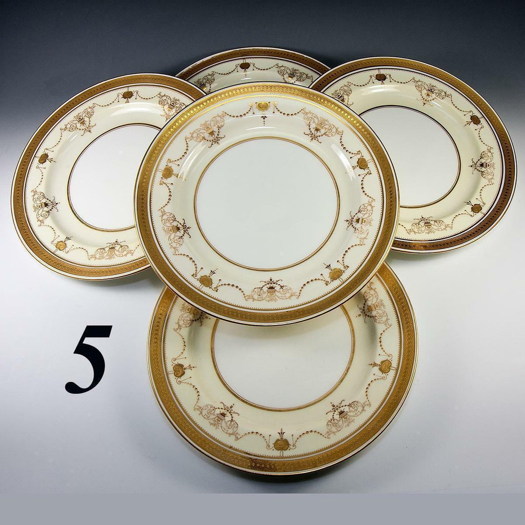Antique Minton Dinner Plate Set c.1891-1912, 5pc, Raised & Encrusted Gold Enamel