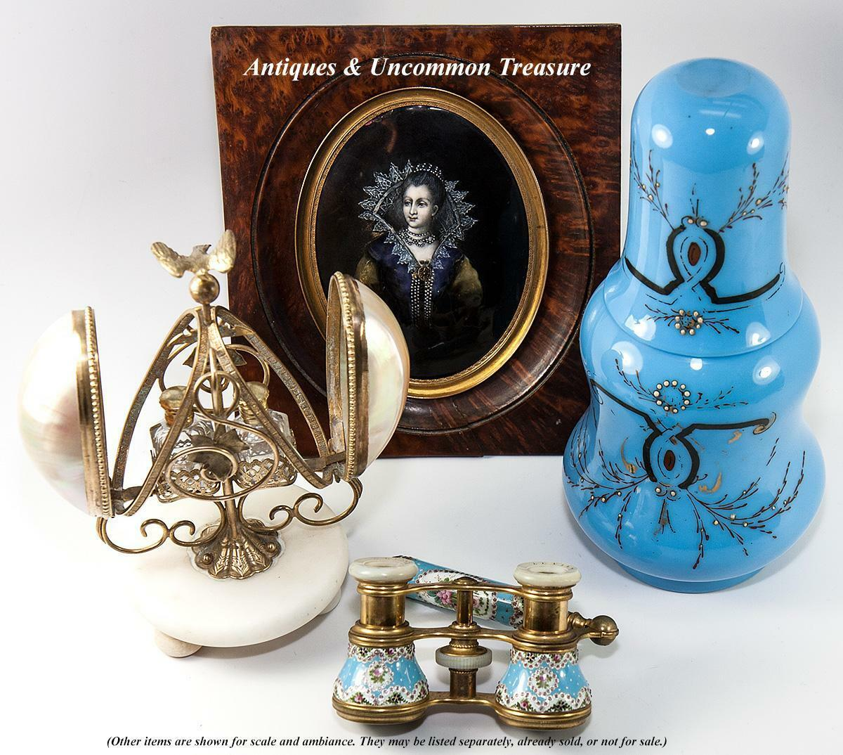 Elegant 1860 Napoleon III Era French Blue Opaline Bonne Nuit, Decanter & Tumbler