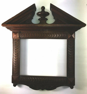 "PAIR (2) French Antique HC Wood Frames, 16"" x 14.75"" (aperture: 9"" x 7""), Walnut"