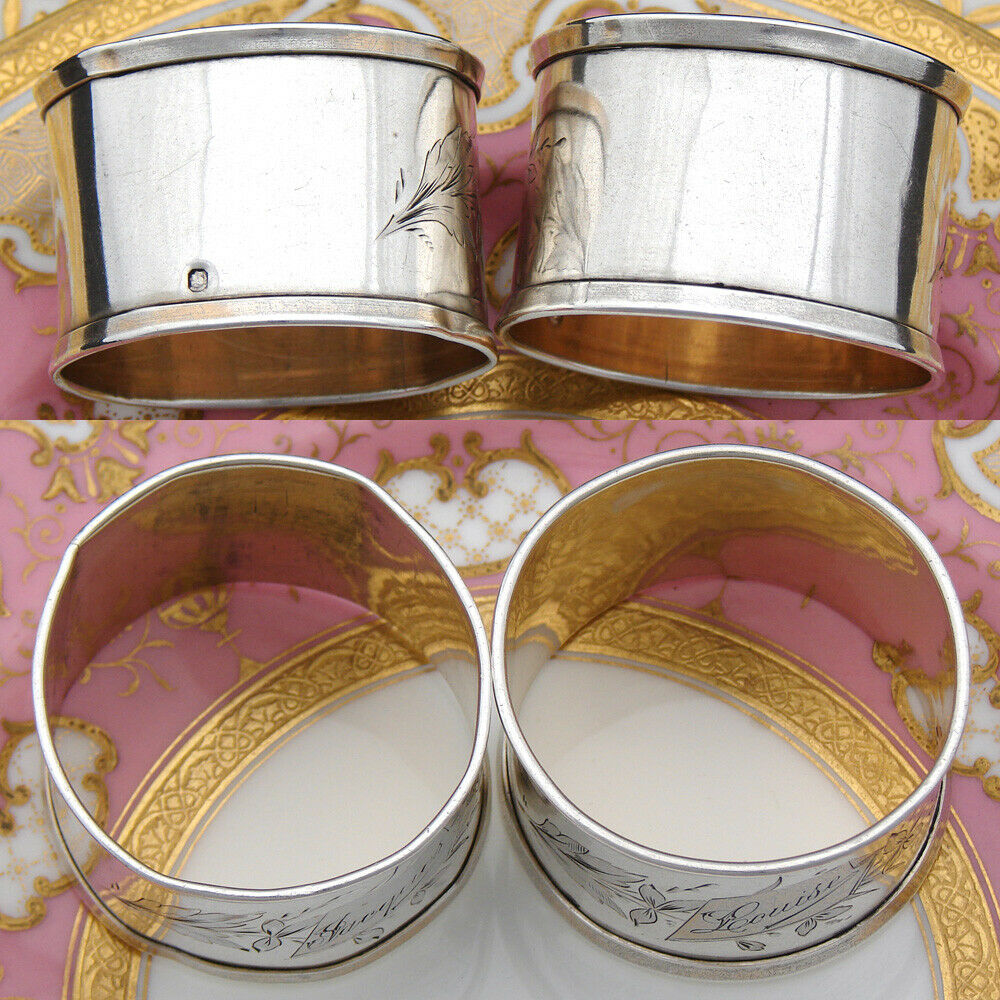 "Antique French Sterling Silver Napkin Ring PAIR, His & Her ""Jacques"" & ""Louis"""