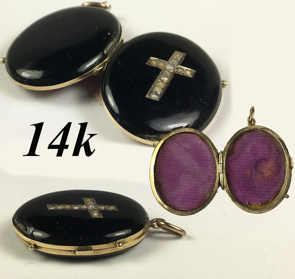 Antique Victorian 14k Mourning Locket, Seed Pearl Cross & Black Enamel, Pendant
