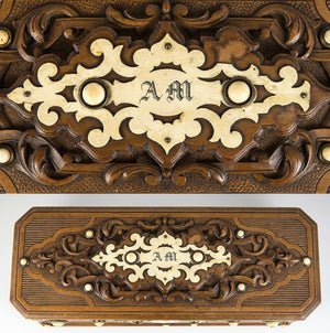 Fabulous Antique Hand Carved Black Forest Glove Box, Unique, Monogram A M
