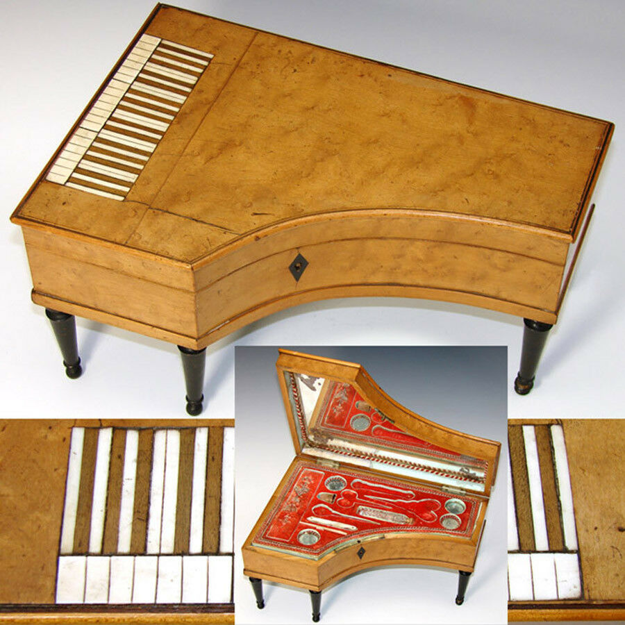 "Rare Antique Palais Royal Sewing Box, 11"" Harpsichord, Grand Piano, Some Content"