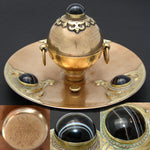 Antique English Bronze 3pc Desk Set: Inkwell, Letter & Pen Tray w/ Banded Agate