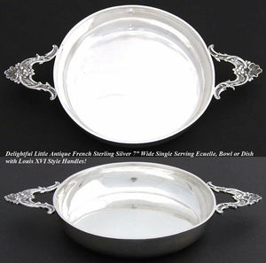 "Antique French Sterling Silver 7"" Wide 'Ecuelle', Single Serving Dish, Bowl"