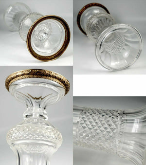 "Elegant Antique French Empire Style Baccarat 9"" Vase, Gilt Bronze & Cut Crystal"