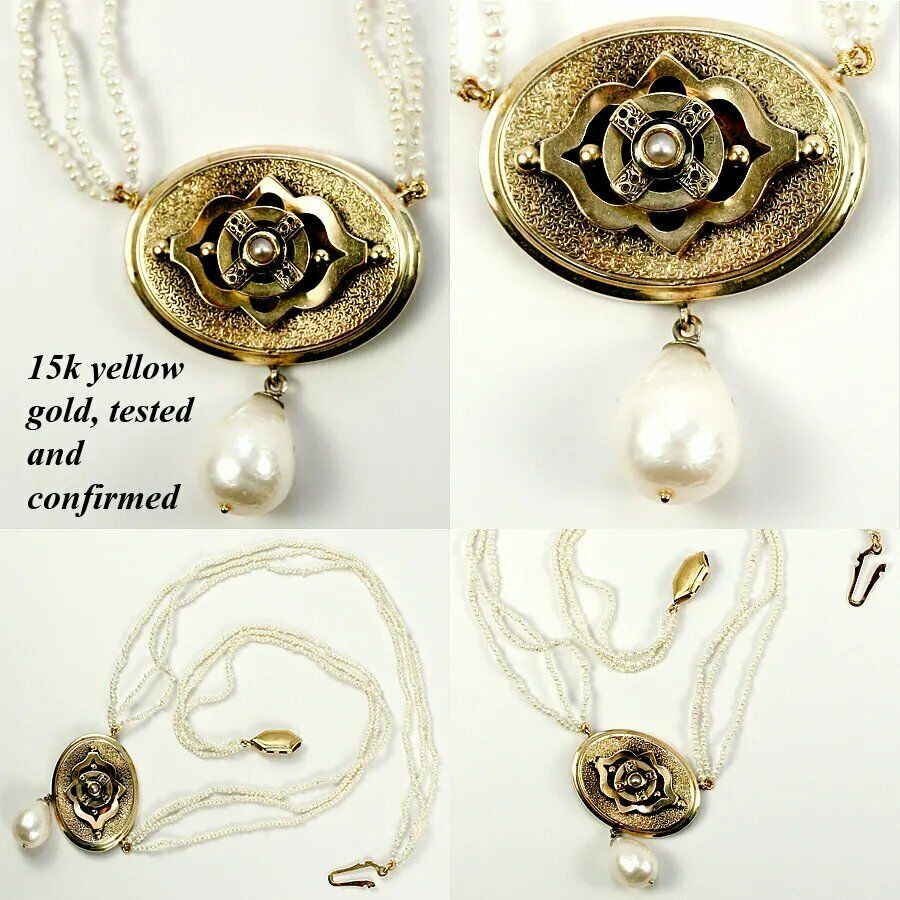 Antique Victorian to Edwardian Seed Pearl 3 Strand Necklace, 15k Gold Pendant