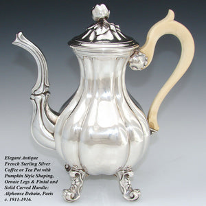 Antique French Sterling Silver Aesthetic Style Coffee Pot or Teapot, Lobed Shape