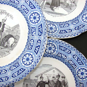"Antique French Gien Faience 5pc Cabinet Plate Set, ""Bouffoneries"" Figural Scenes"