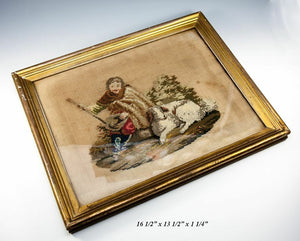Antique Victorian Georgian Era Needlepoint Tapestry Gold Frame, Dog or Shepherd
