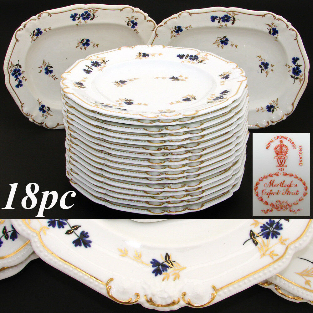 "Antique Royal Crown Derby 10.5"" Plate Set, 14pc with 2pc Serving Dishes, c. 1899"