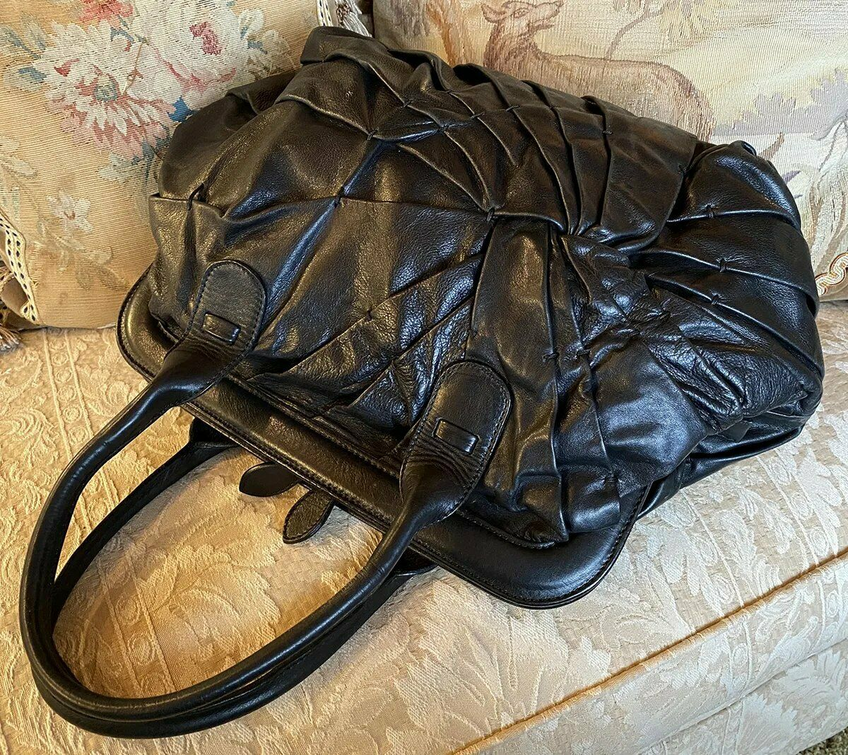 Vintage VALENTINO Garaveli BIG Black Nappa Leather Purse, Bag, Dust Cover
