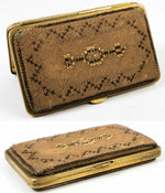 Antique French Victorian Era Cigar or Cheroot Case, Etui, Needlework, Striker