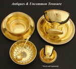Antique Vermeil 14-18k Gold on Sterling Silver Bowl & Plate Caviar Serving Set