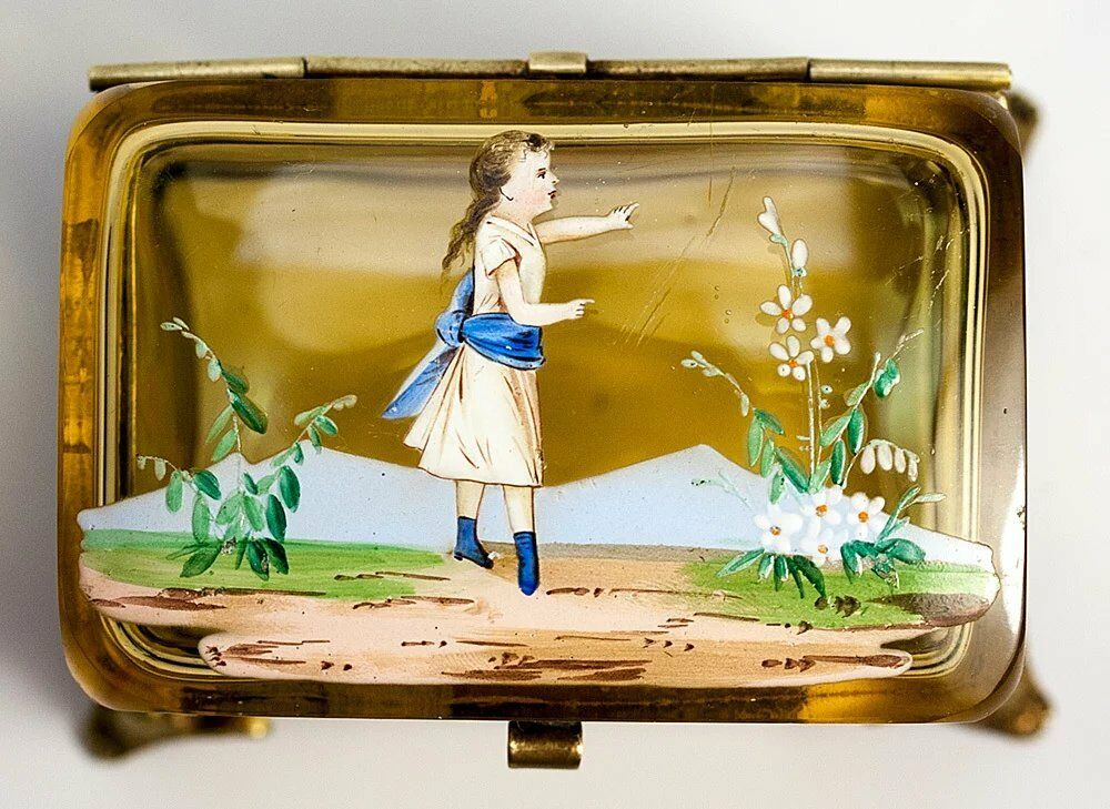 Antique French Enameled Glass Jewelry Box with Hand Painted Little Girl, Garland