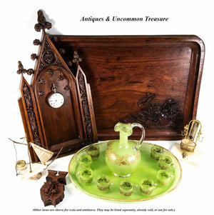 Antique French Napoleon III Cabaret, Green Opaline & Raised Gold Carafe, Tray +