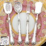 Elegant Antique French Sterling Silver 4pc Hors d'Oeuvre Implement Set, Acanthus