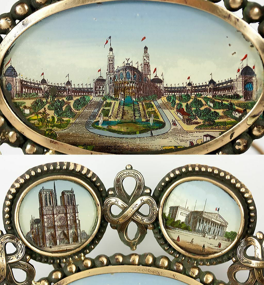 Antique French Paris Expo Grand Tour Souvenir Tray, 7 Eglomise Monument Views