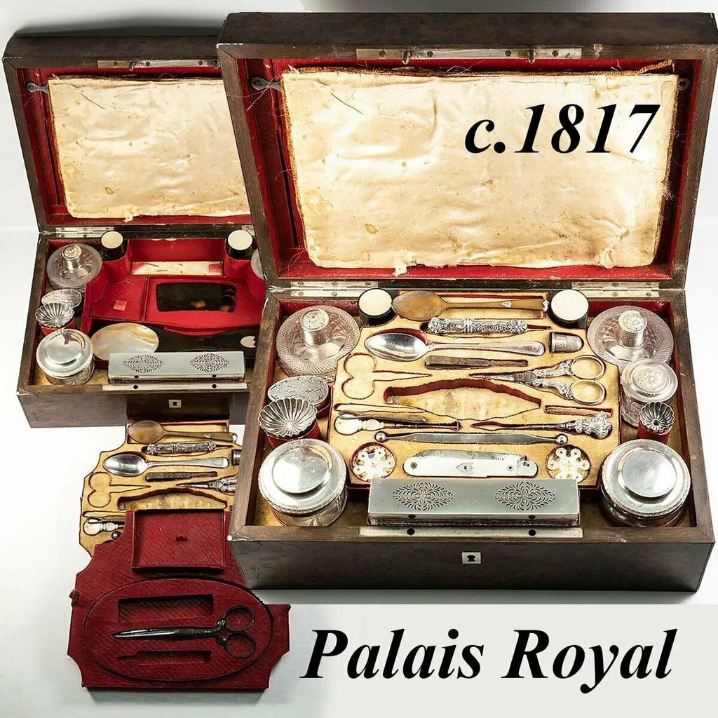 RARE c1817 Antique French Palais Royal Nécessaire de Voyage, Sterling Vanity Set