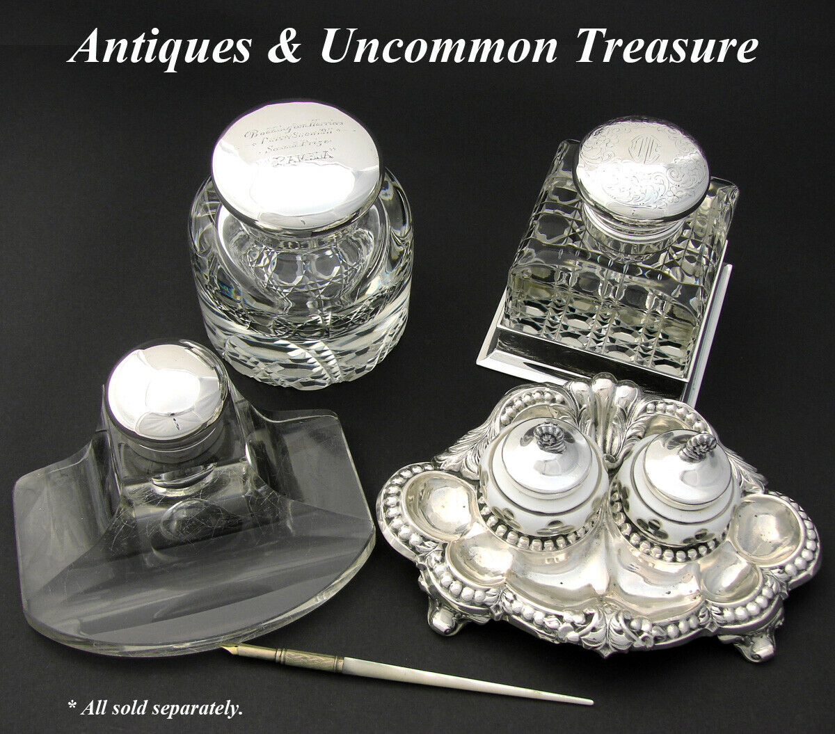 "Rare Antique English Sterling Silver & Cut Crystal 4.5"" Inkwell, ""Puppy Show"""