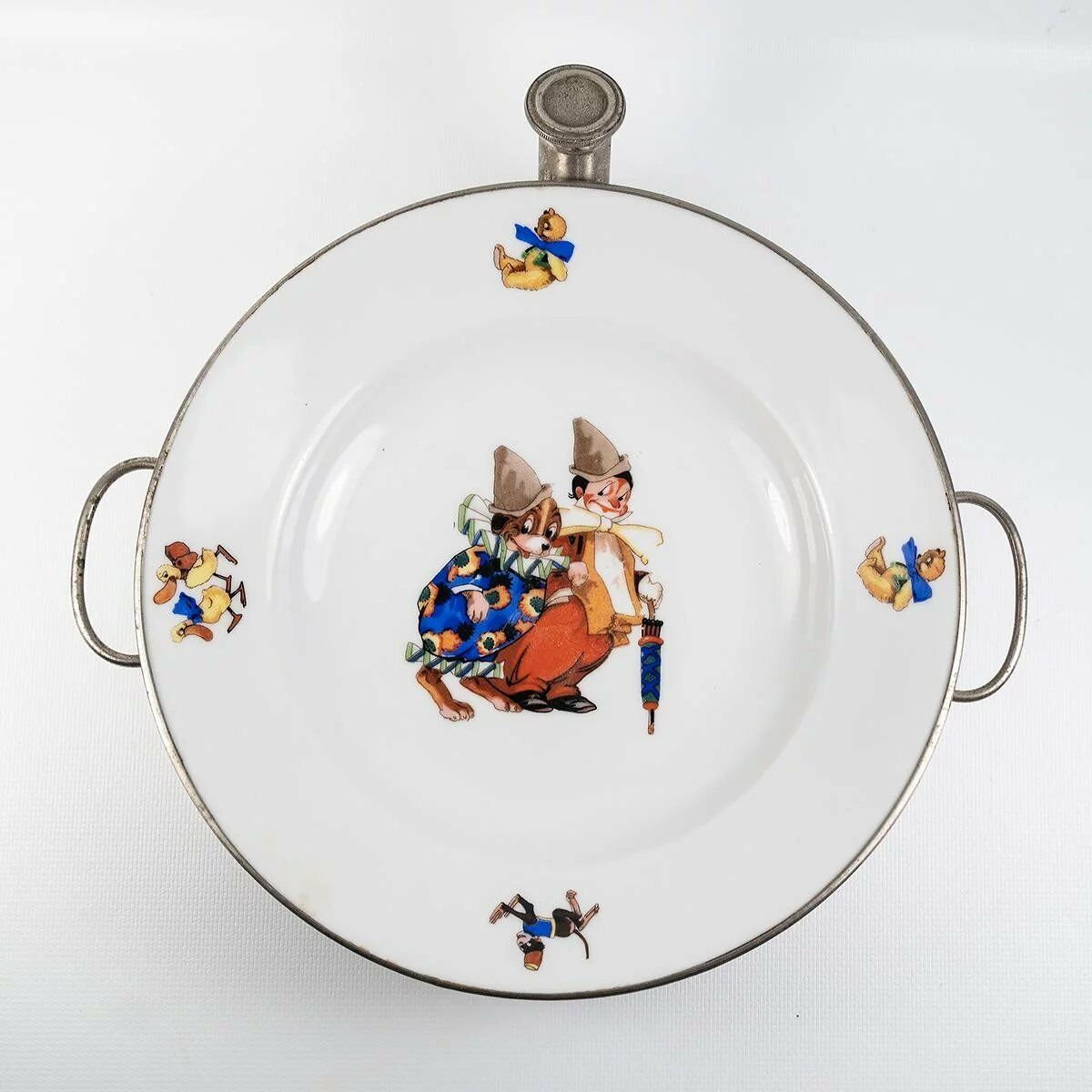 WMF c.1930-60 French Child's Hot Meal Dish, Warmer, Porcelain Plate with Clown