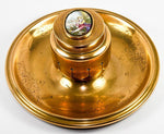 Antique French Ornate Dore Brass Inkwell Stand, Desk Tray, Enamel Portrait