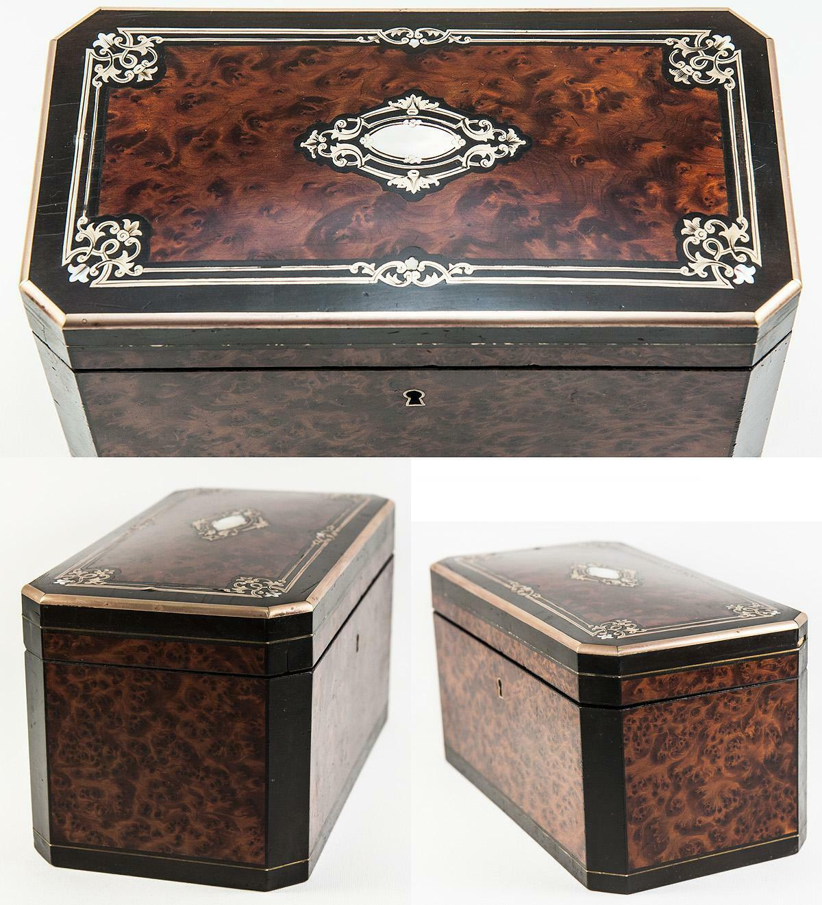 Antique French Tea Caddy, Napoleon III Boulle Brass Inlays, Double Well c. 1850s