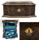 Antique French Jewelry Chest, Manicure & Sewing Box, Tools, Scissors, Thimble