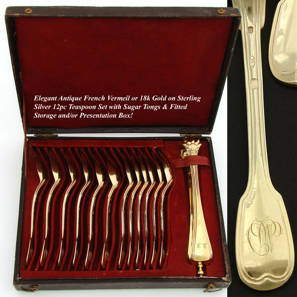 Antique French Vermeil 18k Gold on Sterling Silver 13pc Teaspoon, Sugar Tong Set