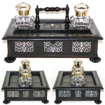 "Antique Victorian Boulle Style 13"" Inkstand or Inkwell, Ebony & Mother of Pearl"