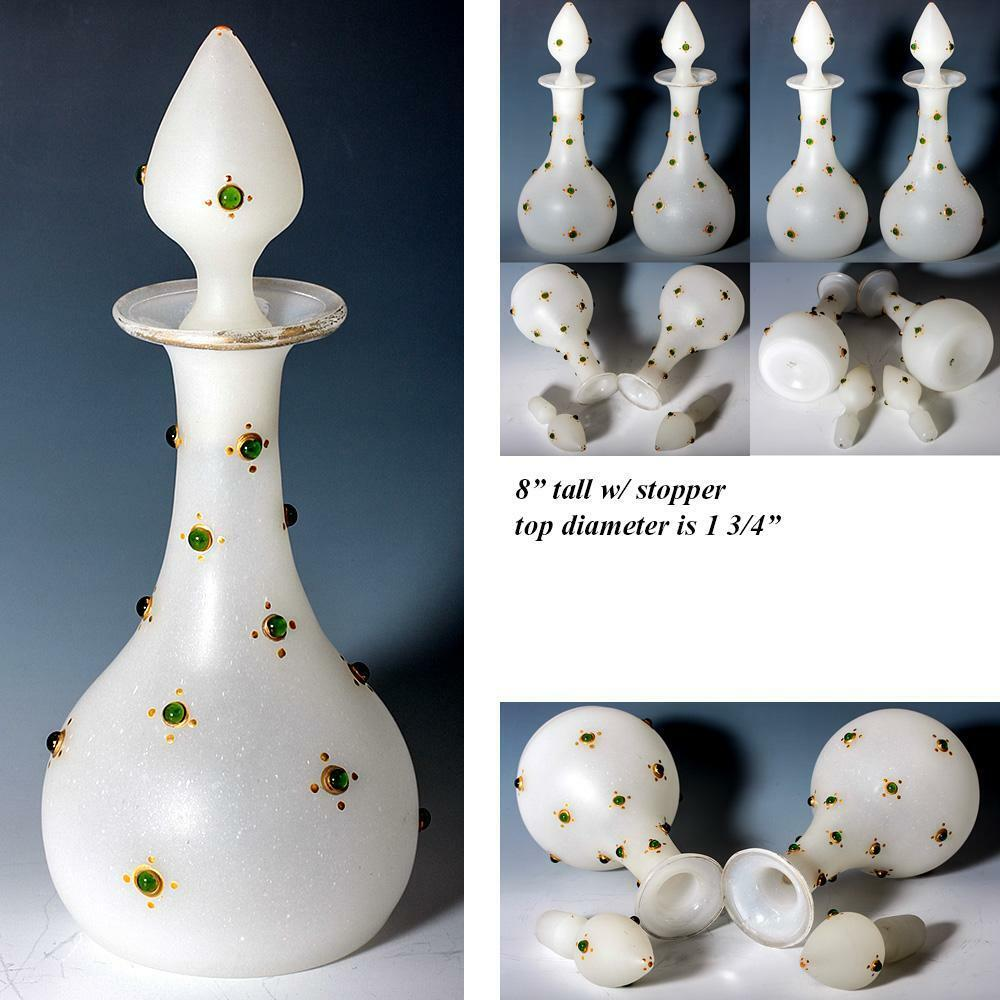 "PAIR Antique French Jeweled Opaline Glass 8"" Tall Decanters, Scent Bottles"