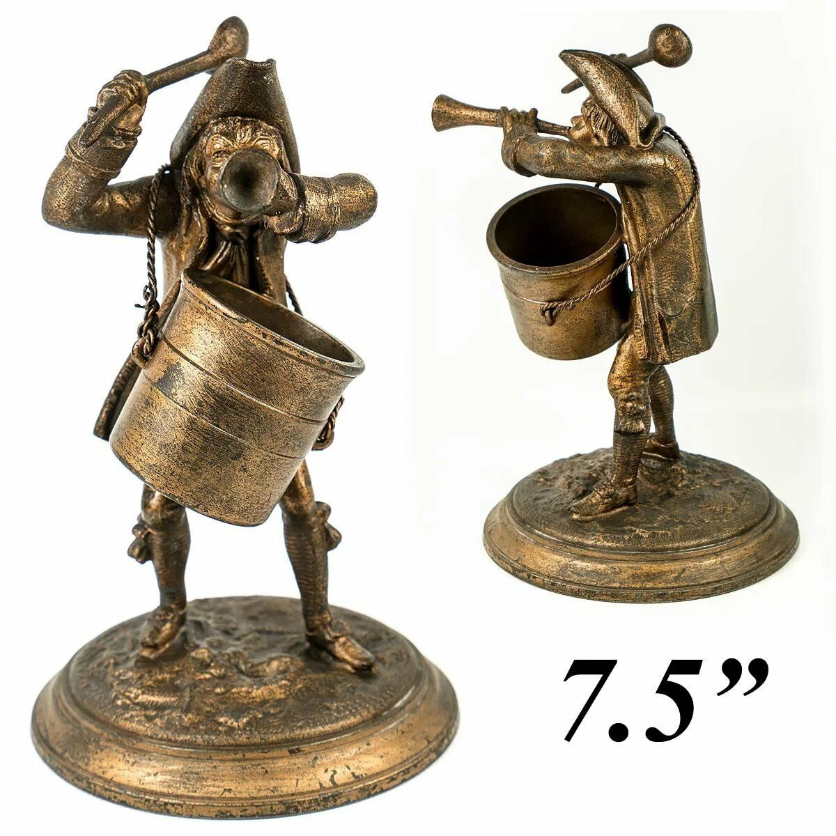 "Antique French Figural Match Holder, 7.5"" Revolutionary Soldier, Bugle and Spoon"