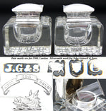 HUGE Antique Brilliant Cut Crystal & Sterling Silver Inkwell PAIR, Boar Heraldry
