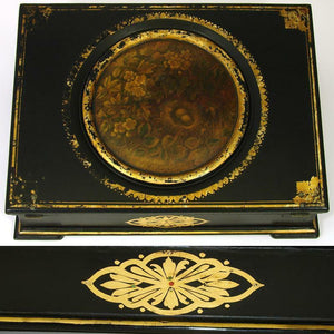 "Antique Victorian Era Papier Mache 13"" Ecritoire, Writer's Lap Desk, Box"