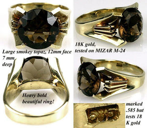 Beautiful Vintage Large Smoky Topaz, 18K Yellow Gold Ring, USA Size 6