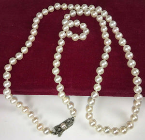 "Vintage MIKIMOTO Pearl Necklace, 6mm, 25"" Long, Original Presentation Box"