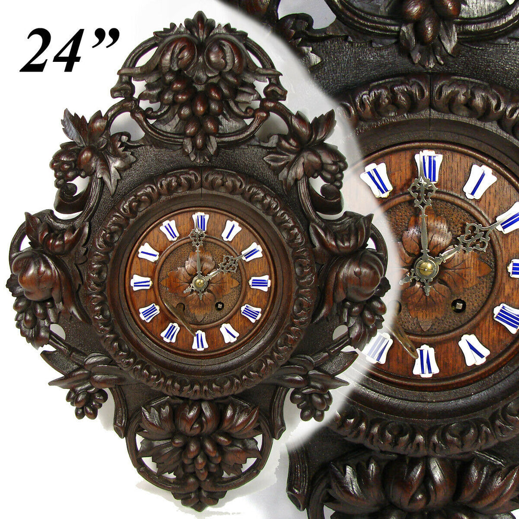 "Antique Black Forest Carved Oak 24"" Parlor Clock, Ornate Foliage, Enamel Numeral"