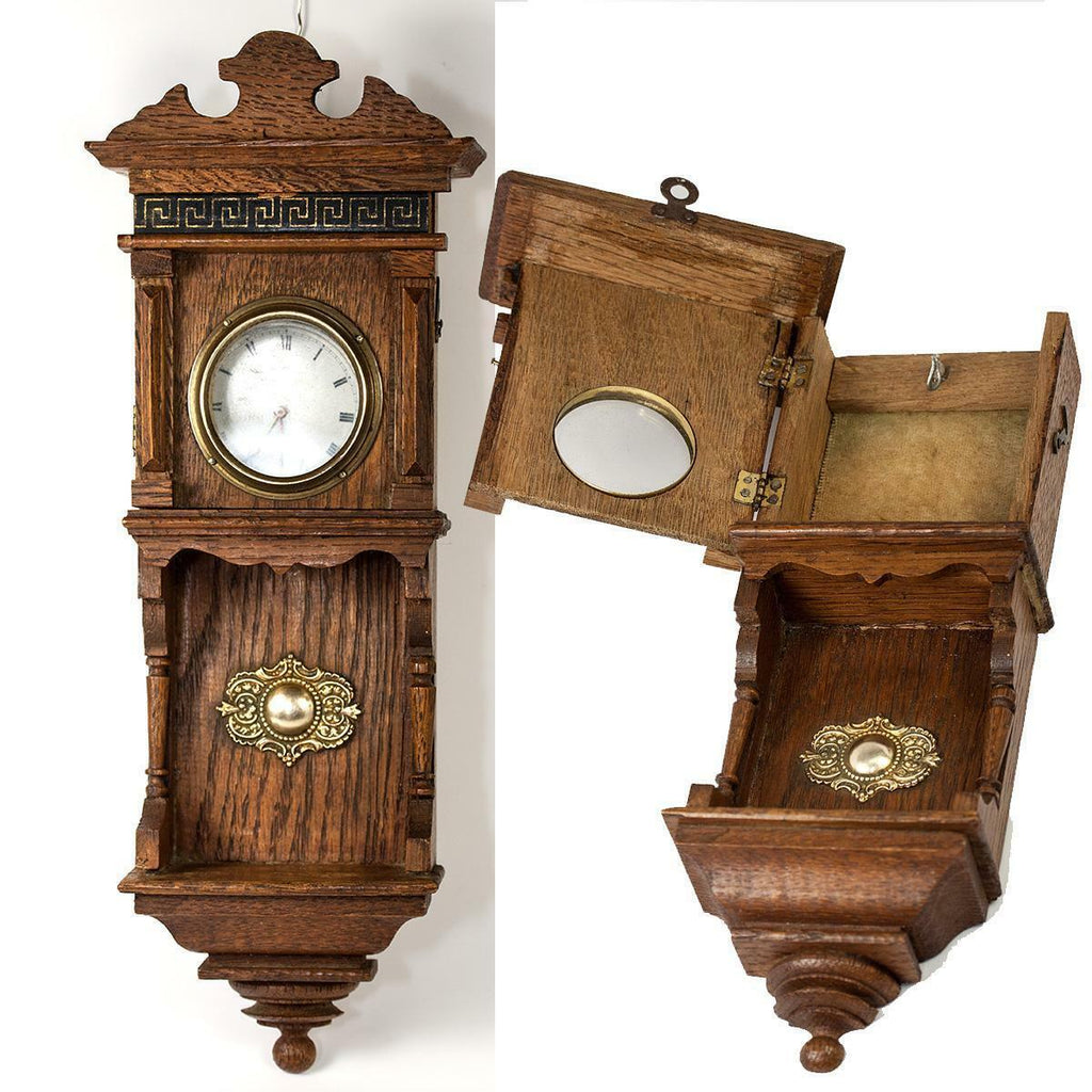 Antique French Miniature Wall Clock Case is a Pocket Watch Holder, Doll House