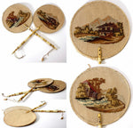 Pair: Antique Victorian Hand Embroidered Face Screens, Fan Petitpoint & Beadwork