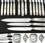 Antique French Napoleon III 18pc Mother of Pearl & Sterling Silver Knife Set