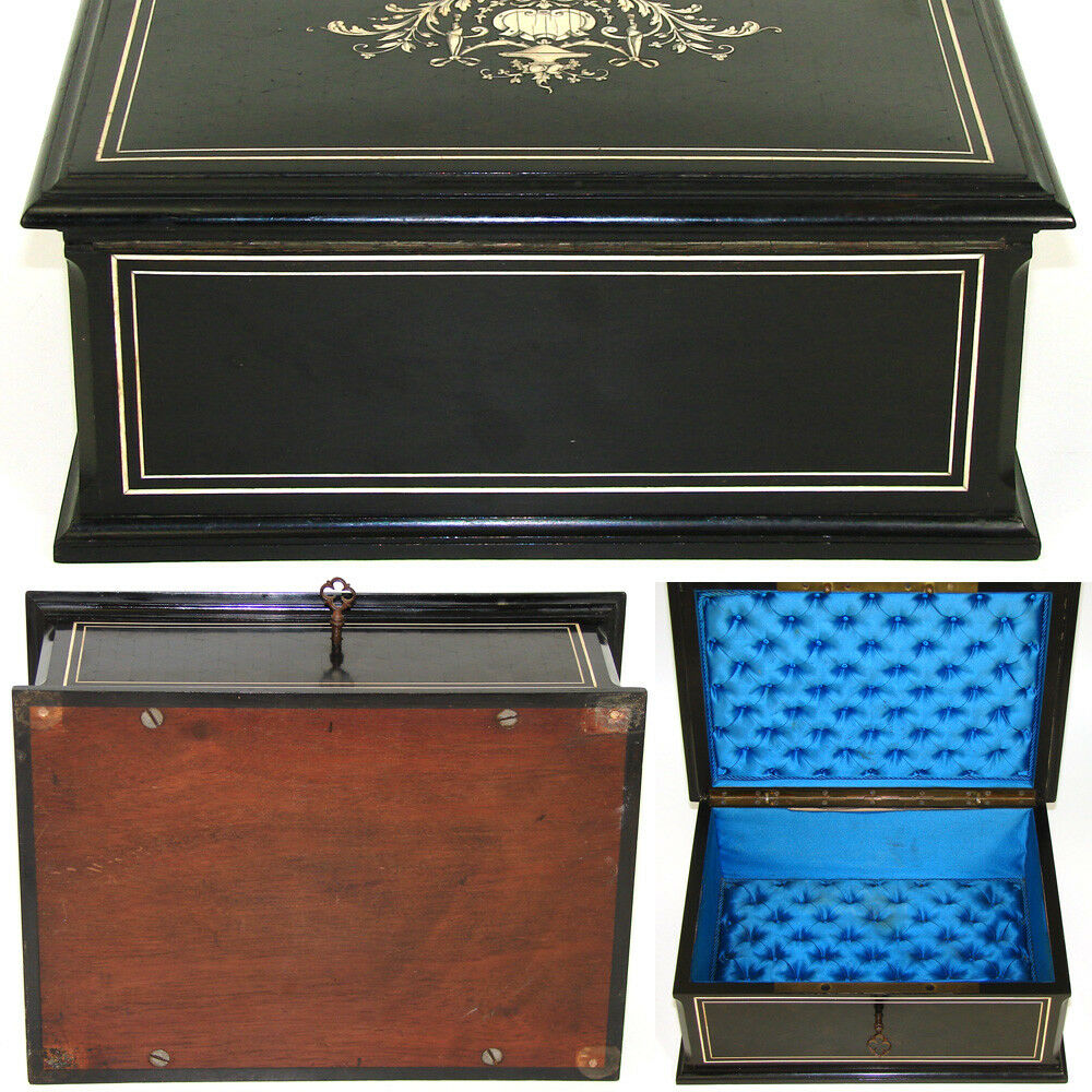 "Elegant Antique French 11"" Jewelry or Desk Box, Ebony Marquetry & Ornate Ivory Inlay"