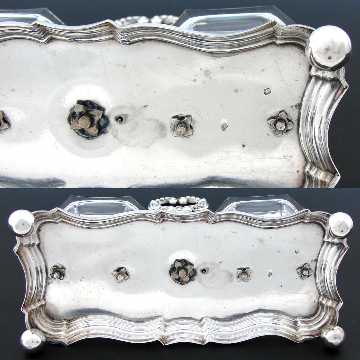 Antique Louis Philippe Era French Sterling Silver Double Open Salt or Sweetmeat