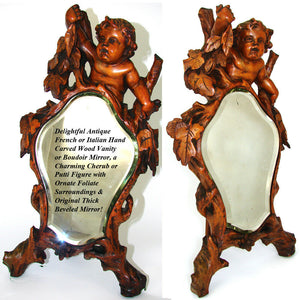 "Antique Italian Renaissance Style Carved 17.5"" Vanity Mirror, Cherub or Putti"