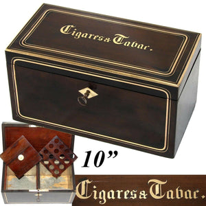 "Antique French Napoleon III Era 10"" Tobacco & Cigars Box, Casket: Walnut & Brass"