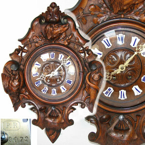 "Antique Victorian Era Black Forest Carved 25"" Wall or Parlor Clock, Hunt Theme"