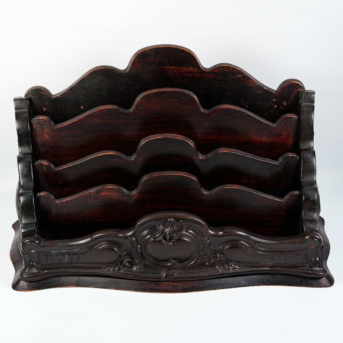 "Elegant Antique French Carved Stationery or Writer's Stand, Caddy, 13.75"" Long"