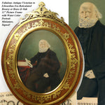 "Antique Edwardian Oak & Reticulate Brass 11"" Picture Frame, Hand Colored Photo"