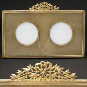 "Antique French Dore Bronze 8"" Double Picture Frame, Bow & Ribbon, Silk Mat"