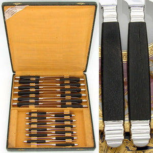 Vintage French 24pc Sterling Silver & Ebony Handled Table Knife Set, Stainless